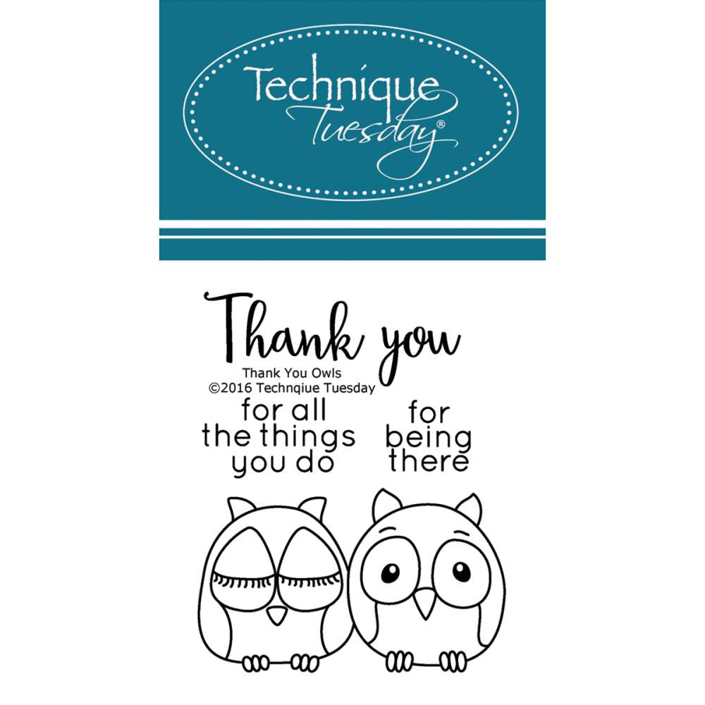 "Technique Tuesday, Clear Stamps, 2"" x 2.5"" - Thank You Owl"