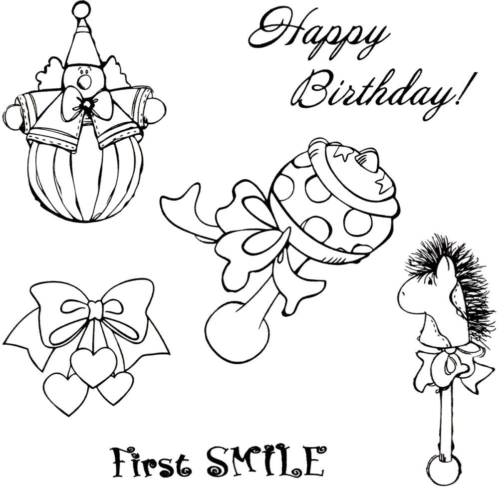 "ScrapBerry's Kids' Fun Clear Stamps 4""X4"" - Baby Toys, First Smile, Happy Birthday!"