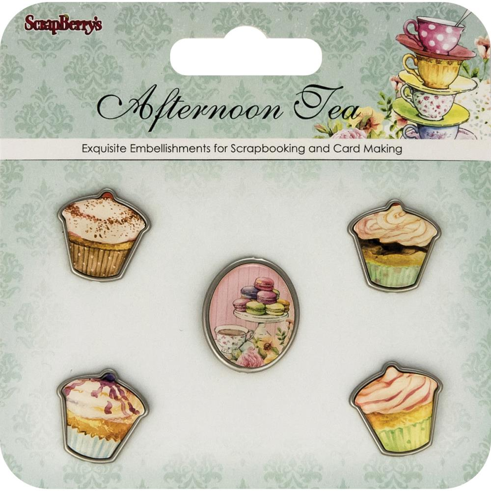 July4Special ScrapBerry's Afternoon Tea Metal Embellishments  - Silver Rimmed Deserts 5/Pkg