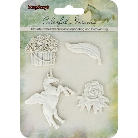 (Preorder)ScrapBerry's Colorful Dreams White Polymer Embellishments