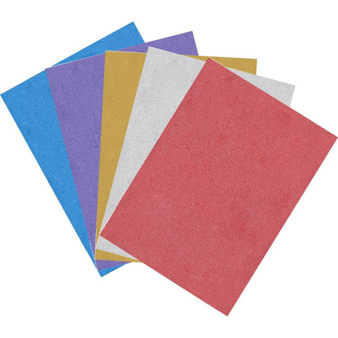 Allton - Glitter Sheets with Adhesive Back - Mix: Silver, Gold, Purple, Red, Blue