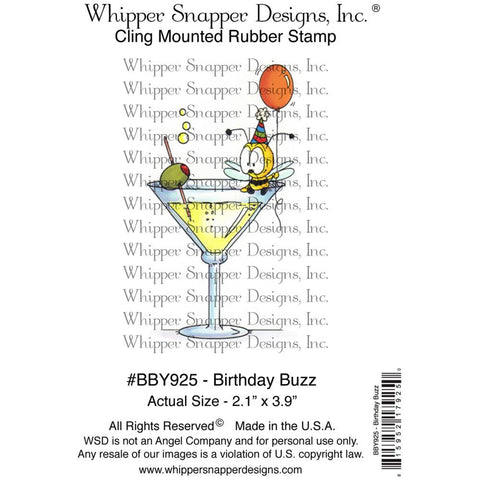 "Whipper Snapper Designs - 4"" x 6"" Cling Stamps - Birthday Buzz"