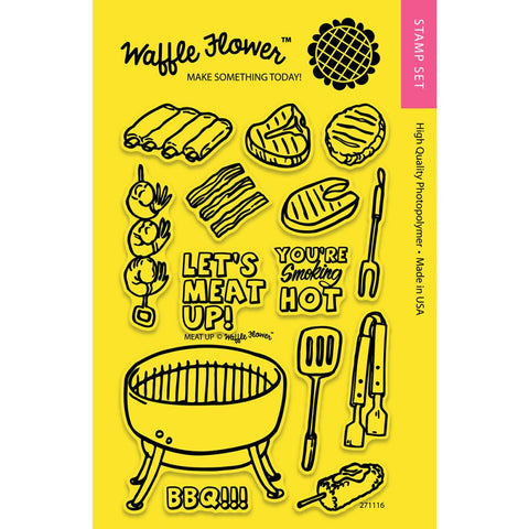 "(Pre-Order) Waffle Flower - Crafts Clear Stamps 4""X6"" - Meat Up (coordinates with Meat Up Die Set)"