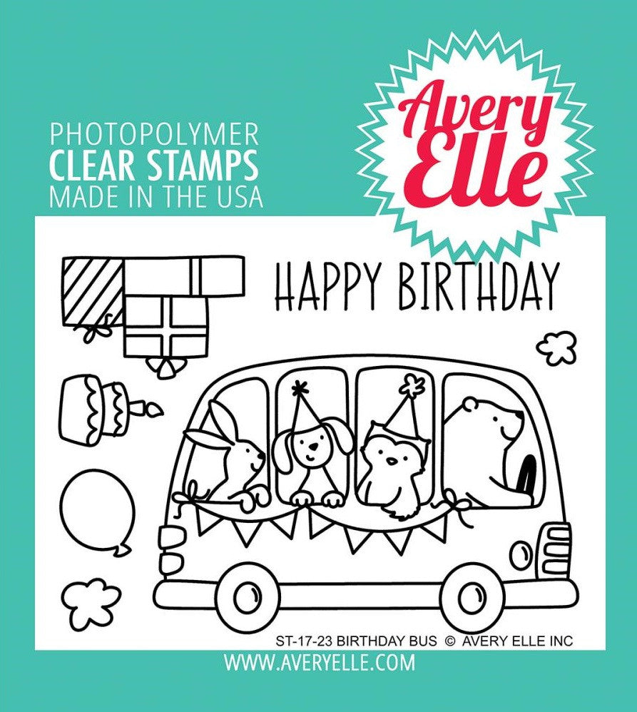Avery Elle - Photopolymer Clear Stamps - Birthday Bus