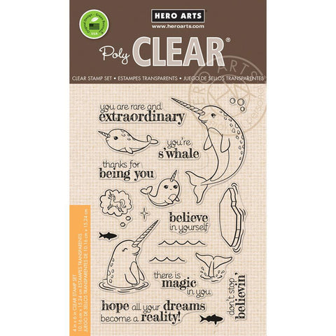 "Hero Arts - Clear Stamps 4"" x 6"" - Believe In Yourself Narwhal"