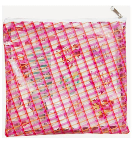 Freckled Fawn - Printed Clear Plastic Zippered Pouch - Plaid