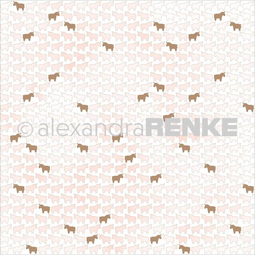 Alexandra Renke - Unicorn Design Paper - Pink with Gold