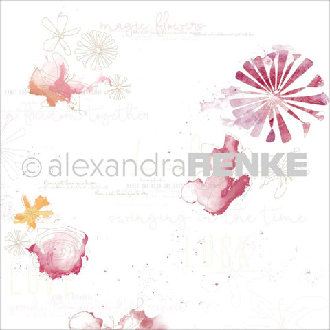 Alexandra Renke - Magic Flowers Design Paper - Red Gold