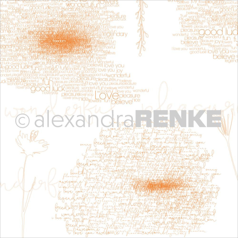 Alexandra Renke - Magic Flowers Design Paper - Orange Type & Flowers