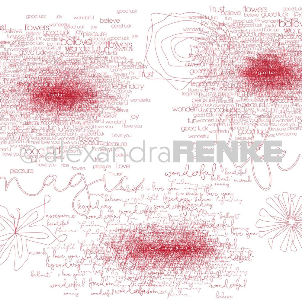 Alexandra Renke - Magic Flowers Design Paper - Bordeaux Type & Flowers