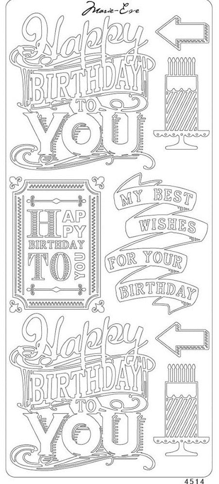 Enveloprint - Marie Eve Peel Off Stickers - Happy Birthday Black