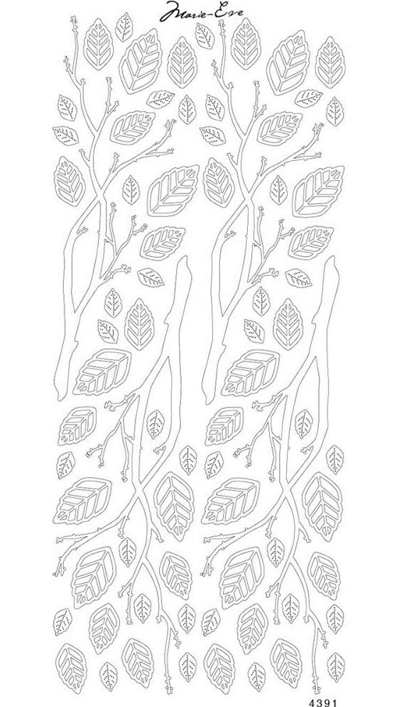 Enveloprint - Marie Eve Peel Off Stickers - Leaves Silver