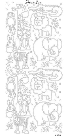 Enveloprint - Marie Eve Peel Off Stickers - Animals Silver