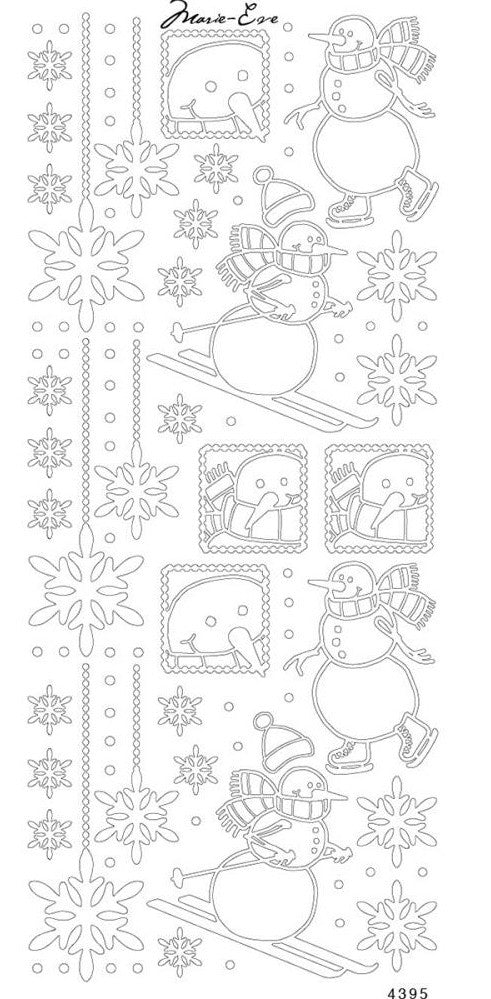 Enveloprint - Marie Eve Peel Off Stickers - Snowmen Silver