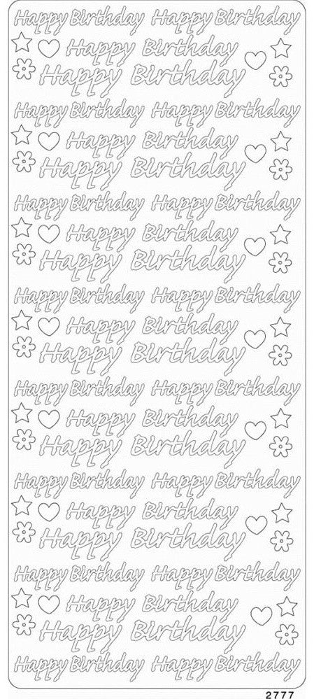 Enveloprint - Peel Off Gem Stickers - Happy Birthday White