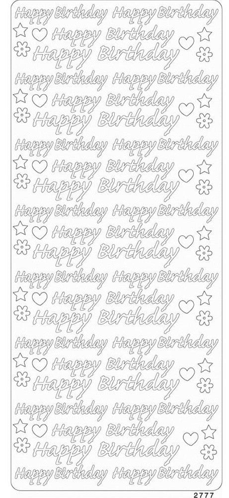 Enveloprint - Peel Off Gem Stickers - Happy Birthday Silver