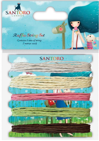 Craft Consortium - Santoro Raffia String Set White, Cream, Pink, Green, Brown/2m Each