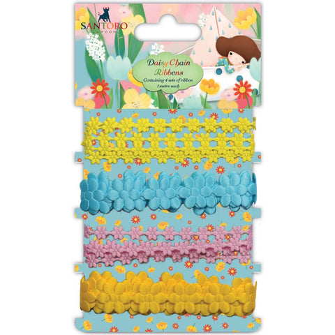 Craft Consortium - Santoro Daisy Chain Ribbons Assorted Colors/1m Each
