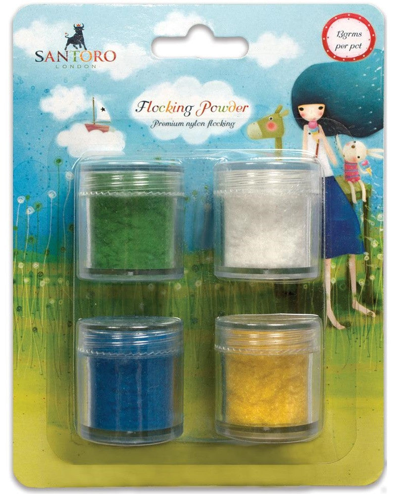 Craft Consortium - Santoro Flocking Powder Green, White, Blue, Yellow