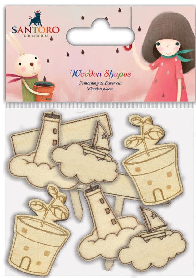 Craft Consortium - Santoro Wooden Shapes - Melon, 4 Designs/2 Each