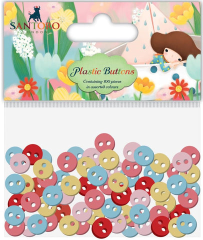 Craft Consortium - Santoro Plastic Buttons Assorted Colors; 11mm, 8mm, 5mm