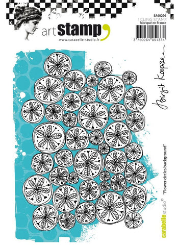 Carabelle Studio - Art Stamp Cling Stamps - Flower Circles Background