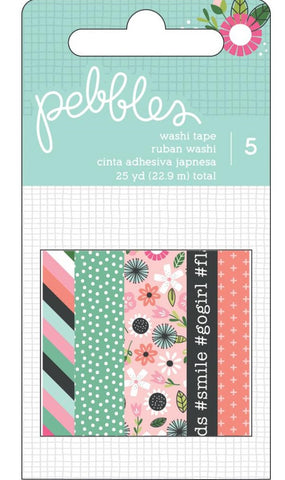 Pebbles - Girl Squad Washi Tape - Assorted Width, 5 Yards Each