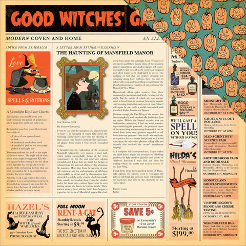 Carta Bella - Haunted House Double-Sided Cardstock - Good Witches' Gazette (Halloween)
