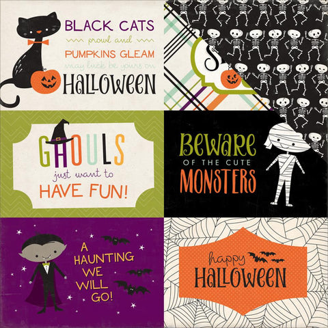 "Echo Park Paper - Halloween Town Double-Sided Cardstock - 4"" x 6"" Journaling Cards (Halloween)"