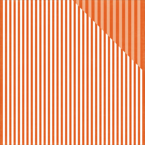 Echo Park Paper - Fall Dots & Stripes Double-Sided Cardstock - Pumpkin Stripe