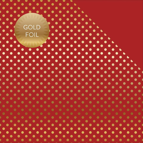Echo Park Paper - Fall/Autumn Double-Sided Foiled Dots/Stripes Cardstock - Red & Gold Dot
