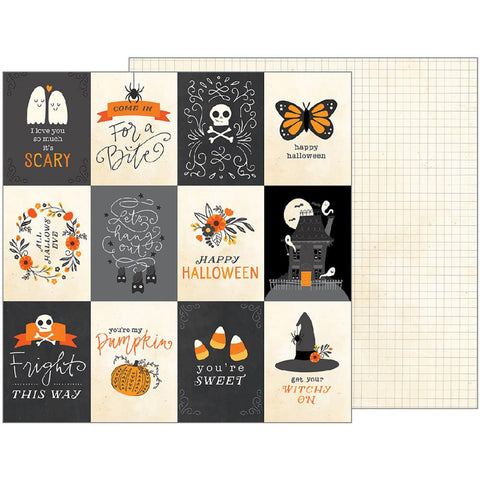 Pebbles - Midnight Haunting Double-Sided Cardstock - Midnight Sentiments (Halloween)
