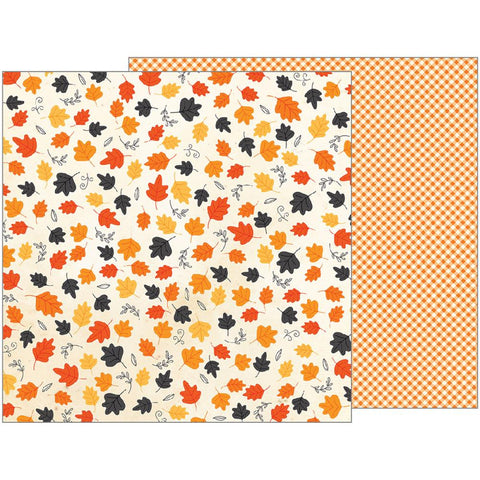 Pebbles - Midnight Haunting Double-Sided Cardstock - Whirling Leaves (Halloween)