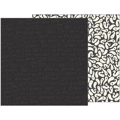 Pebbles - Midnight Haunting Double-Sided Cardstock - Eeek (Halloween)