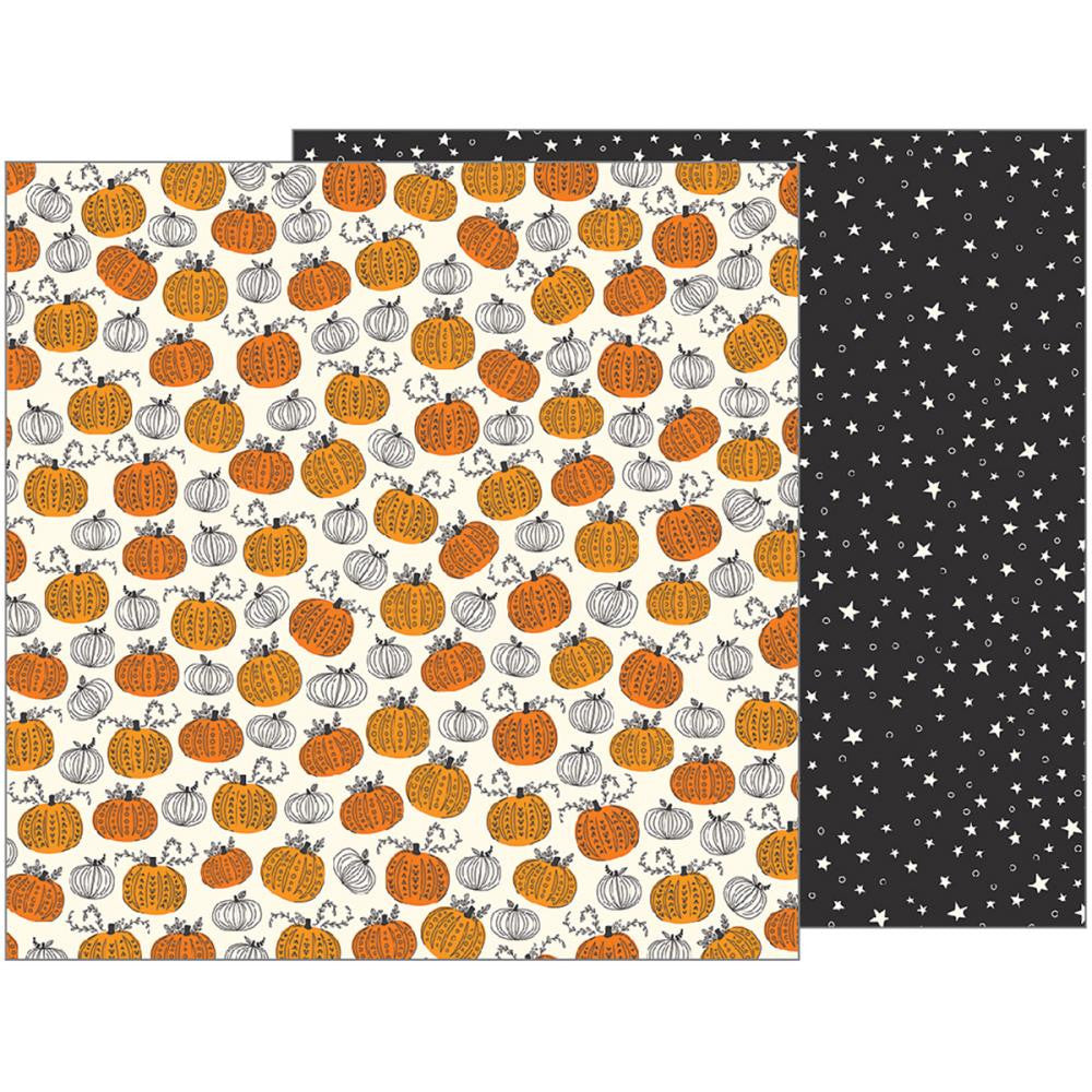 Pebbles - Midnight Haunting Double-Sided Cardstock - Pumpkin Patch (Halloween)