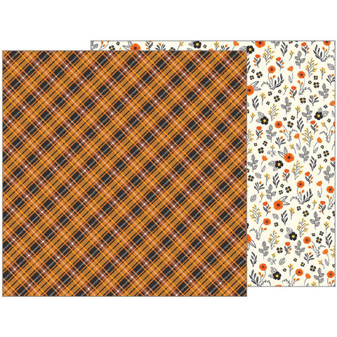 Pebbles - Midnight Haunting Double-Sided Cardstock - Autumn Plaid (Halloween)
