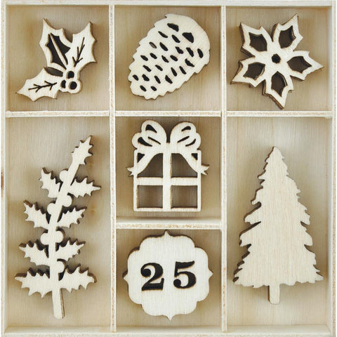 ***Pre-Order*** Kaisercraft - Christmas Edition Themed Mini Wooden Flourishes - Traditional Christmas