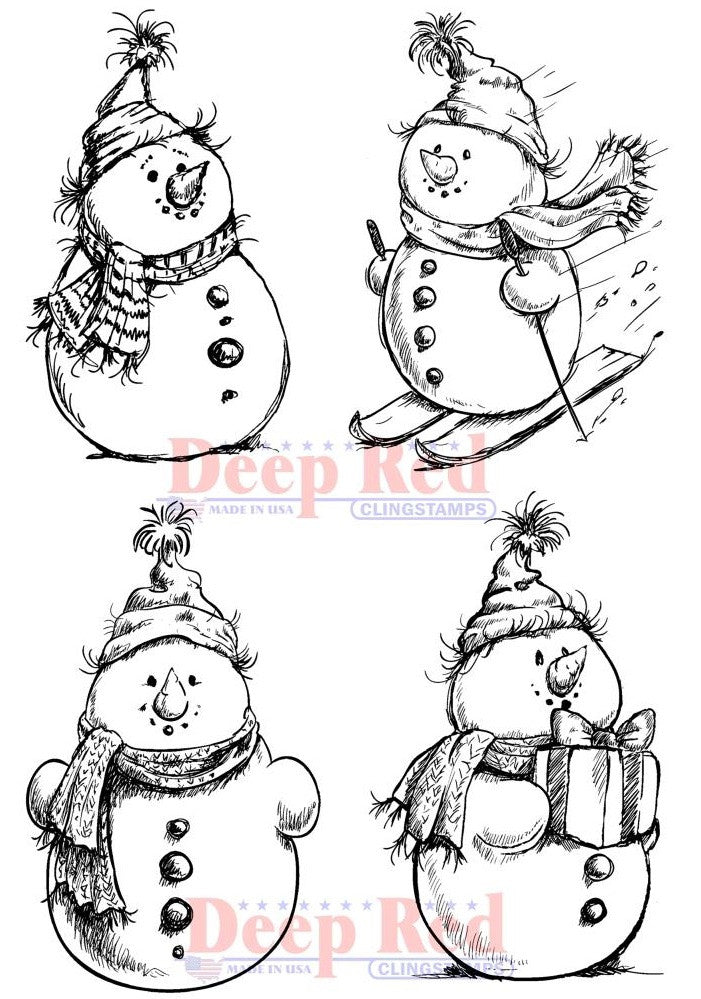 Deep Red Stamps - Cling Stamps - Snowman Collection