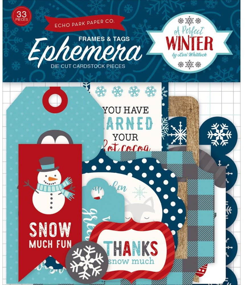 Echo Park Paper - A Perfect Winter Ephemera - Frames & Tags