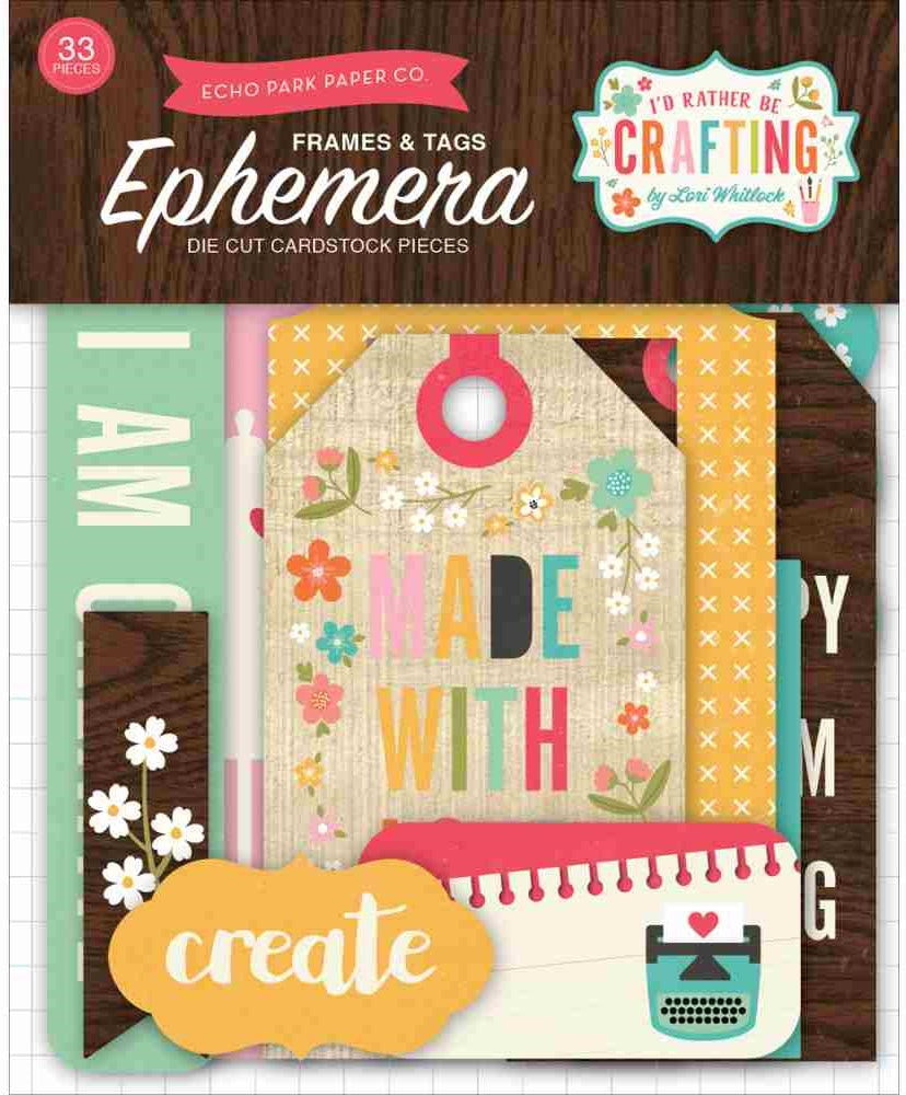 Echo Park Paper - I'd Rather Be Crafting Ephemera - Frames & Tags