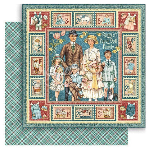 Graphic 45 - Penny's Paper Doll Double-Sided Cardstock - Doll Family