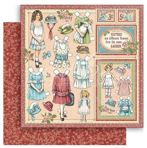 Graphic 45 - Penny's Paper Doll Double-Sided Cardstock - Sweet Sister