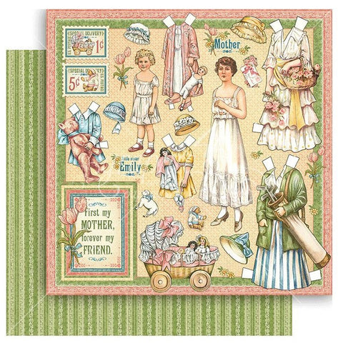 Graphic 45 - Penny's Paper Doll Double-Sided Cardstock - Mothers And Daughters