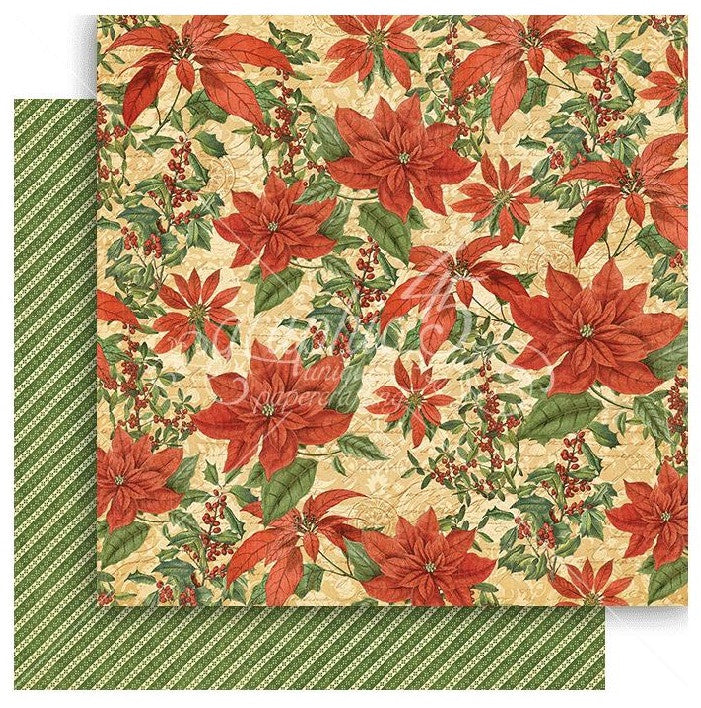 Graphic 45 - Winter Wonderland Double-Sided Cardstock - Pretty Poinsettia