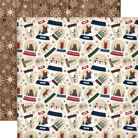 ***Pre-Order*** Carta Bella - Cabin Fever Double-Sided Cardstock - Frosty Snow Globes