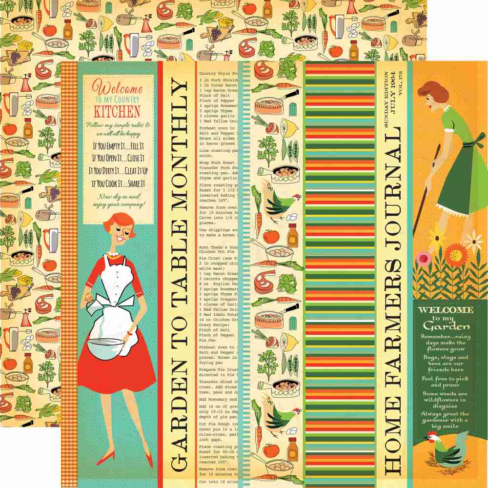 Carta Bella - Country Kitchen Double-Sided Cardstock - Garden To Table Strips