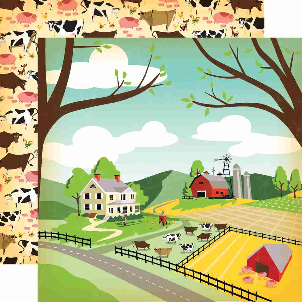 Carta Bella - Country Kitchen Double-Sided Cardstock - Farm Land