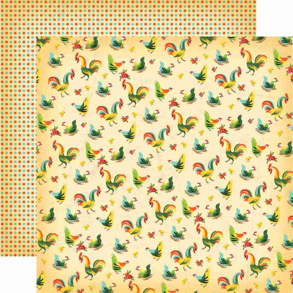 Carta Bella - Country Kitchen Double-Sided Cardstock - Kitchen Roosters