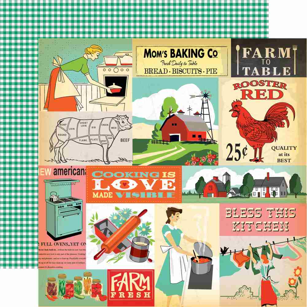 Carta Bella - Country Kitchen Double-Sided Cardstock - Multi Journaling Cards