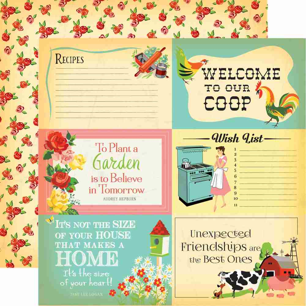 "Carta Bella - Country Kitchen Double-Sided Cardstock - 4"" x 6"" Journaling Cards"